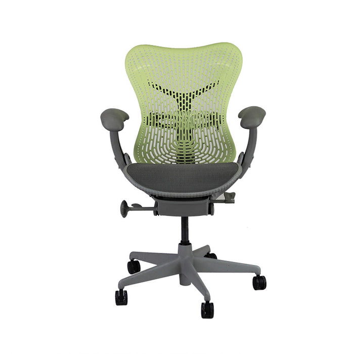 Herman Miller Mirra TriFlex Office Designer Chair with Grey Seat and Green Back