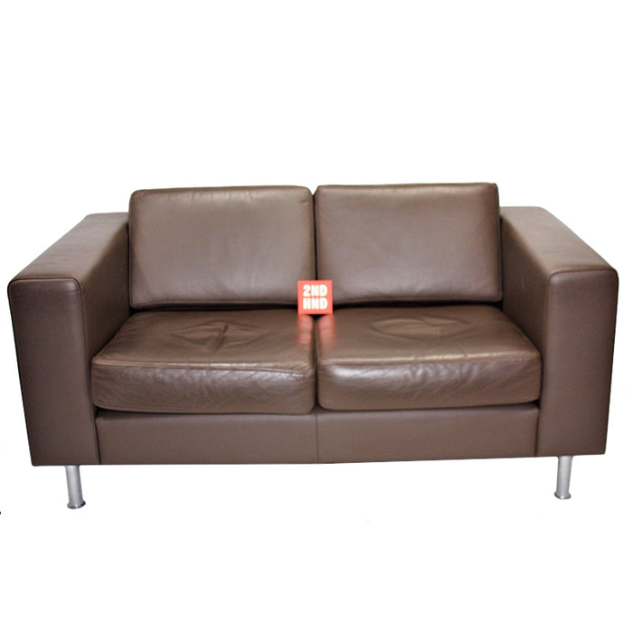 Hitch Mylius Double Seater Brown Leather Sofa