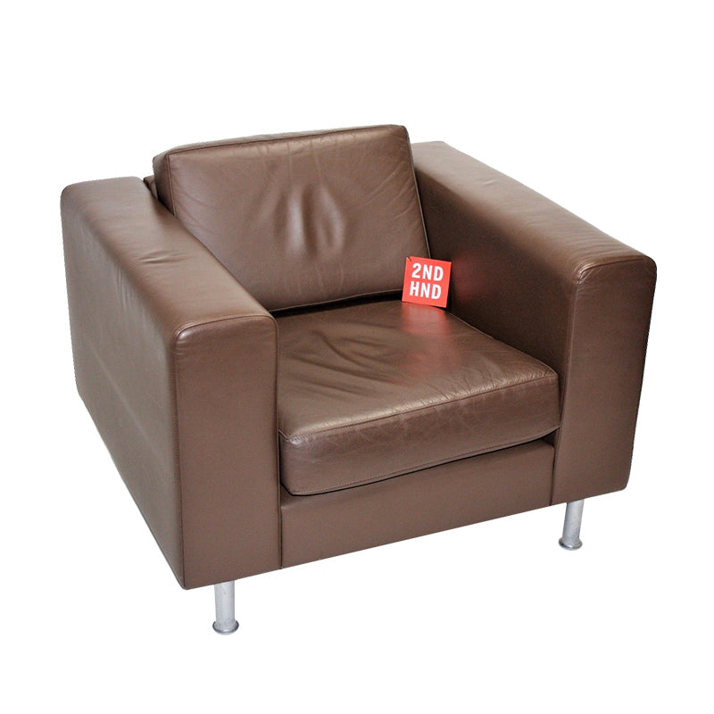 Hitch Mylius Single Seater Brown Leather Sofa