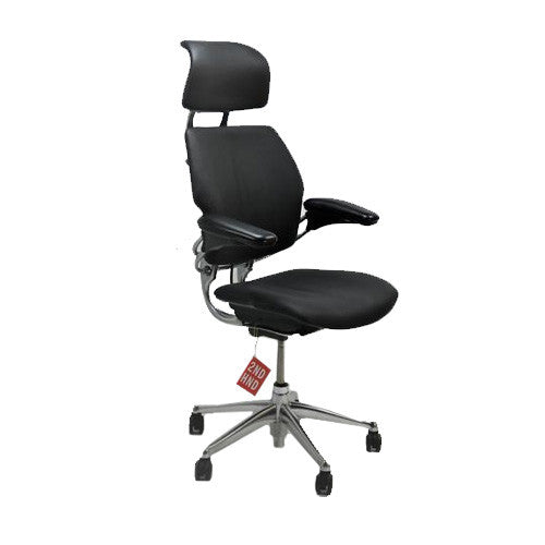 Humanscale Freedom Hi Back Black Leather Chair with Headrest Aluminium Frame