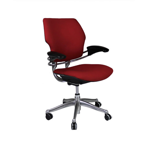 Humanscale Freedom Low Back with Aluminium Frame in New Red Fabric
