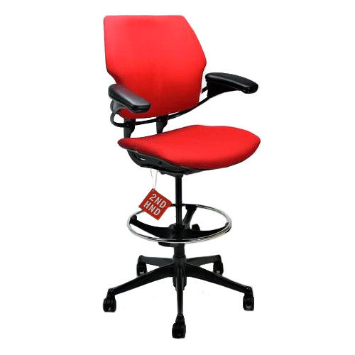 Humanscale Freedom Low Back Draughtsman Chair recovered in new Red Fabric