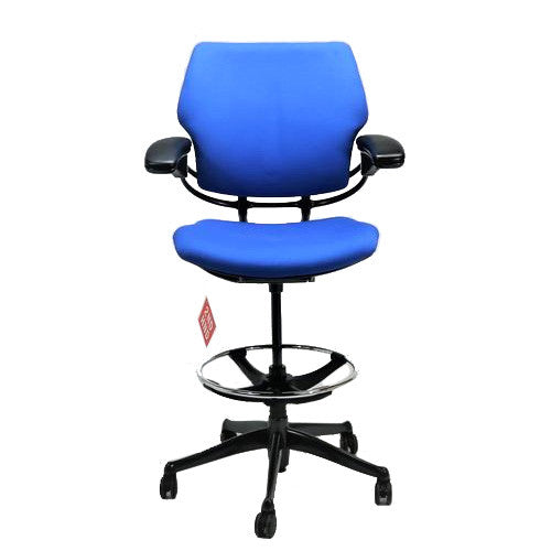 Humanscale Freedom Low Back Draughtsman Chair recovered in new blue Fabric