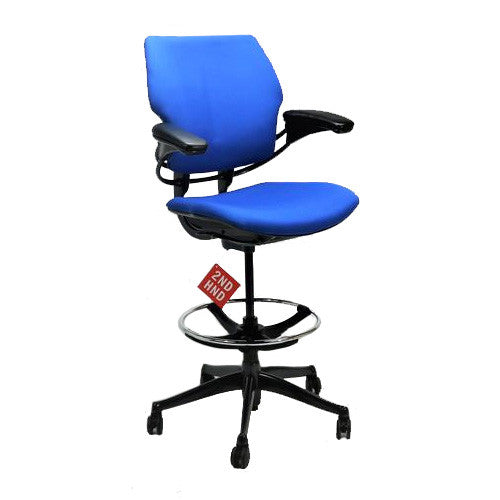 Humanscale Freedom MED Back Draughtsman Chair recovered in new blue Fabric