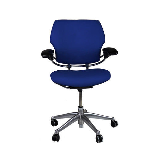 Humanscale Freedom Low Back with Aluminium Frame in New Blue Fabric