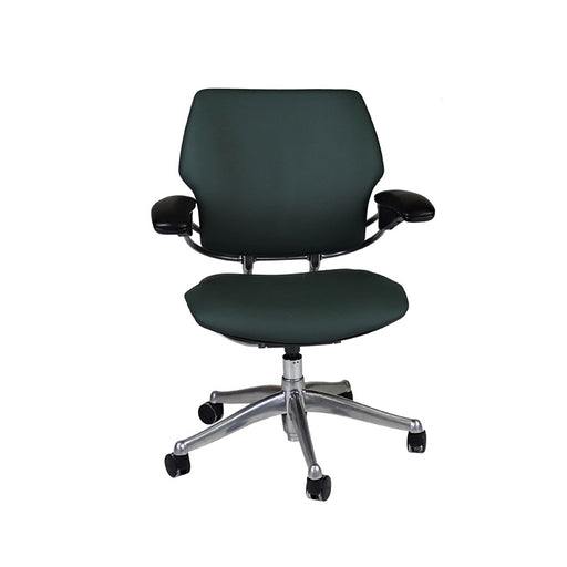 Humanscale Freedom Low Back with Aluminium Frame in New Green Leather