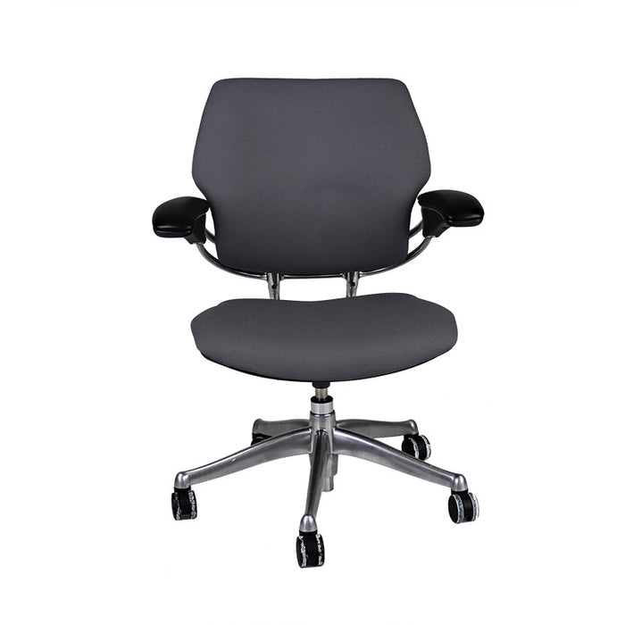 Humanscale Freedom Low Back with Aluminium Frame in New Grey Fabric