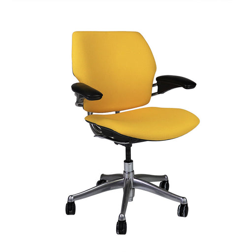 Humanscale Freedom Low Back with Aluminium Frame in New Yellow Fabric