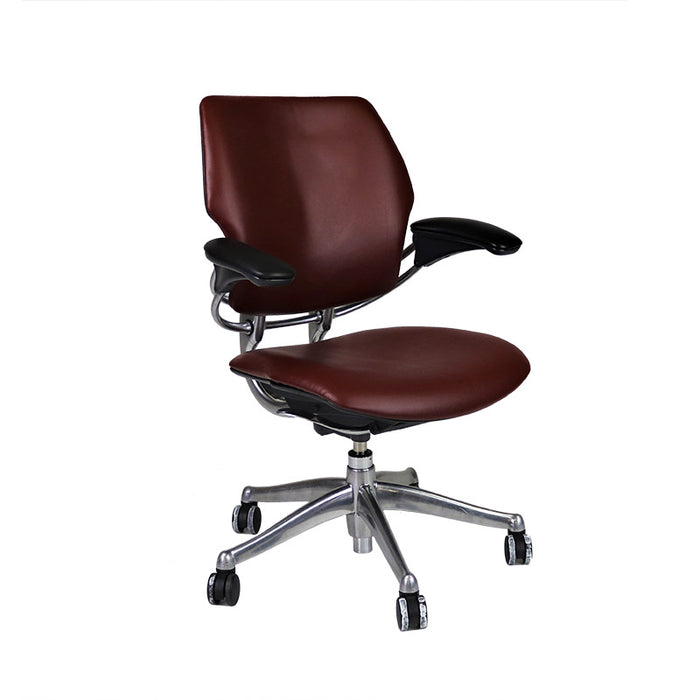 Humanscale Freedom Low Back with Aluminium Frame in New Burgundy Leather
