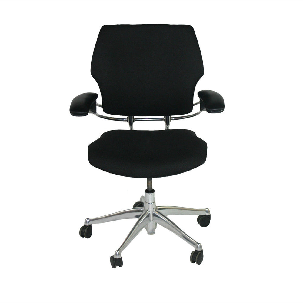 Humanscale Freedom Chair Recovered in New Black  Fabric Aluminium Frames