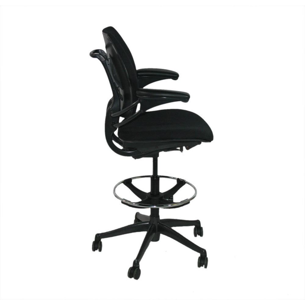 Humanscale Freedom Low Back Draughtsman Chair recovered in new black fabric