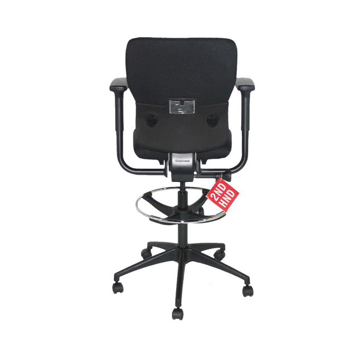 Steelcase Lets B Draughtsman Chair in New Black Fabric