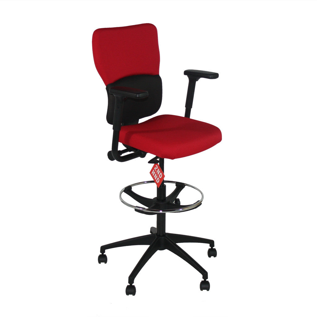 Steelcase Lets B Draughtsman Chair in New Red Fabric u2014 2ndhnd.com - Quality Office Furniture  sc 1 st  2ndhnd.com & Steelcase Lets B Draughtsman Chair in New Red Fabric u2014 2ndhnd.com ...