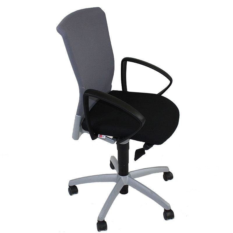 Sedus Chair Grey Mesh Back with New Black fabric seat