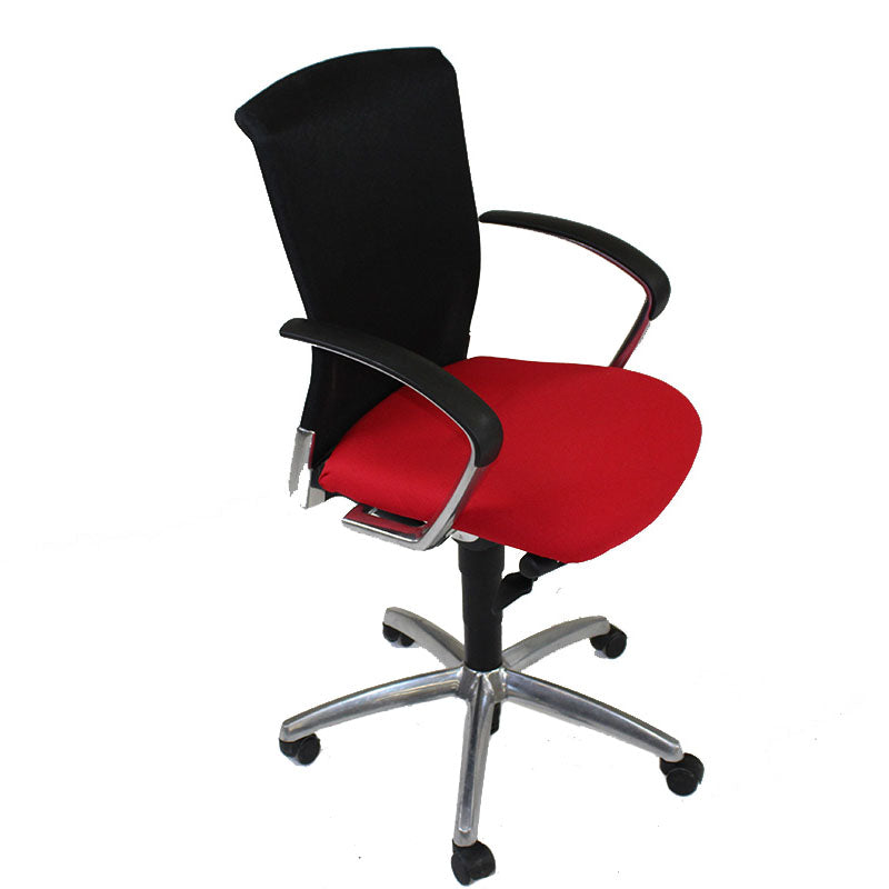 Sedus Chair Black Mesh back new Red fabric seat Aluminium frame