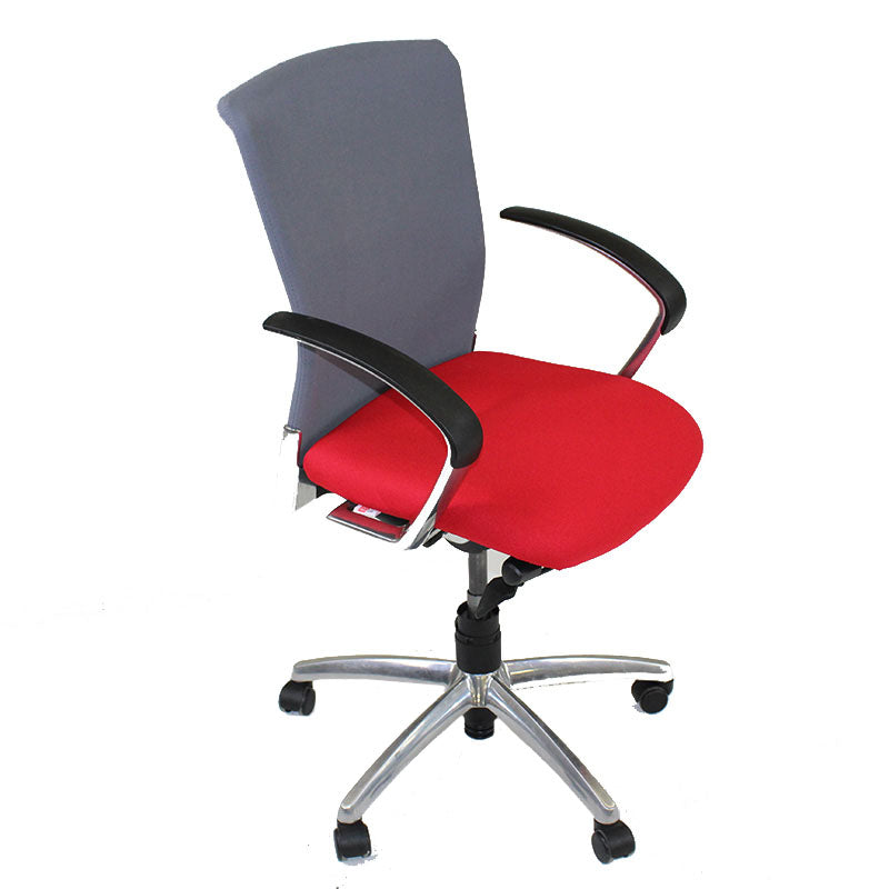 Sedus Chair Grey back new Red fabric seat Aluminium frame