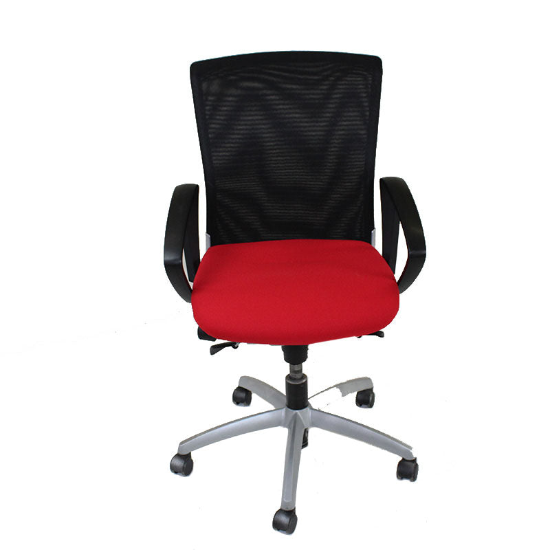 Sedus Chair Black Mesh Back with New Red fabric seat