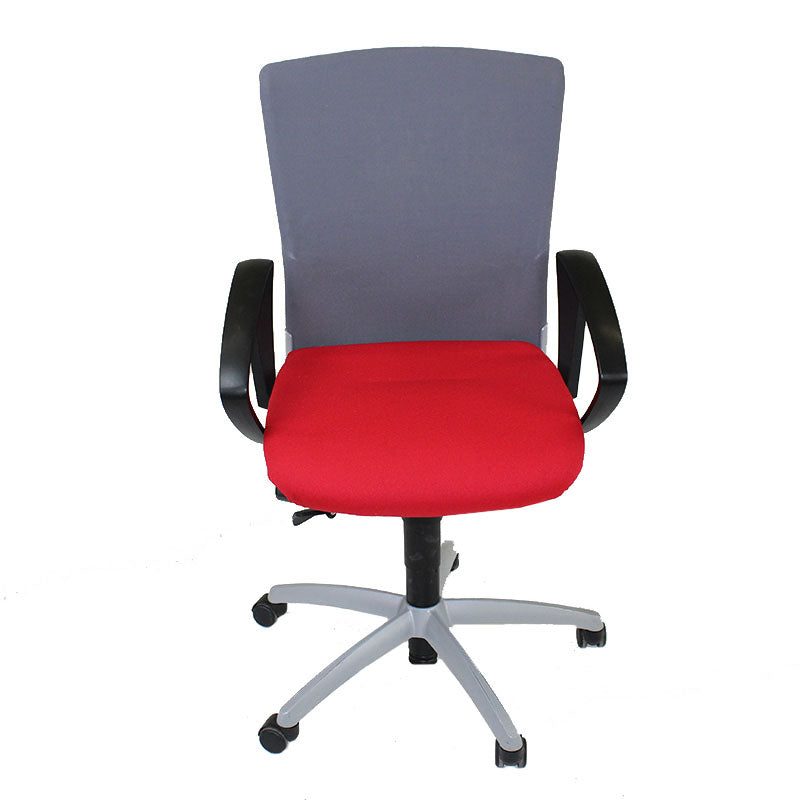 Sedus Chair Grey Mesh Back with New Red fabric seat