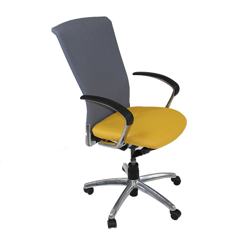 Sedus Chair Grey back new Yellow fabric seat Aluminium frame
