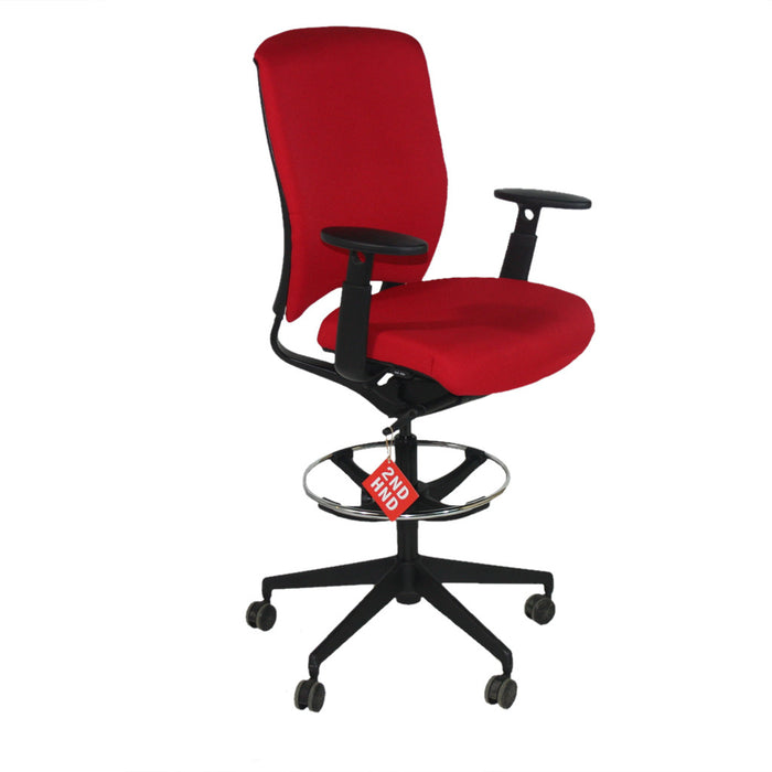 Enigma S21 Black Framed New RED Fabric Draughtsman Chair
