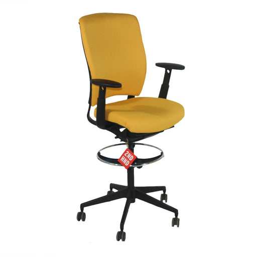 Enigma S21 Black Framed New Yellow Fabric Draughtsman Chair