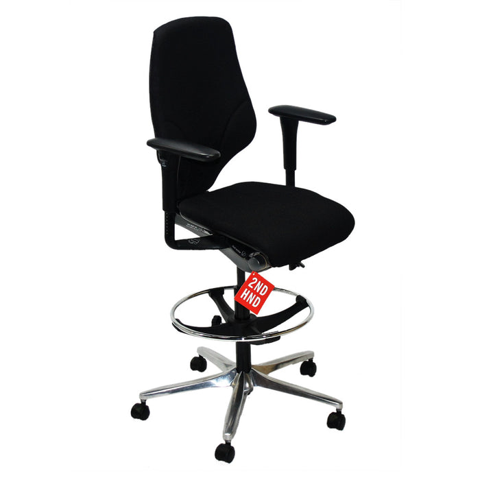 Giroflex G64 Draughtsman chair recovered Black