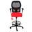 Ahrend 160 Type Draughtsman Chair with Red Fabric Seat and Black Base