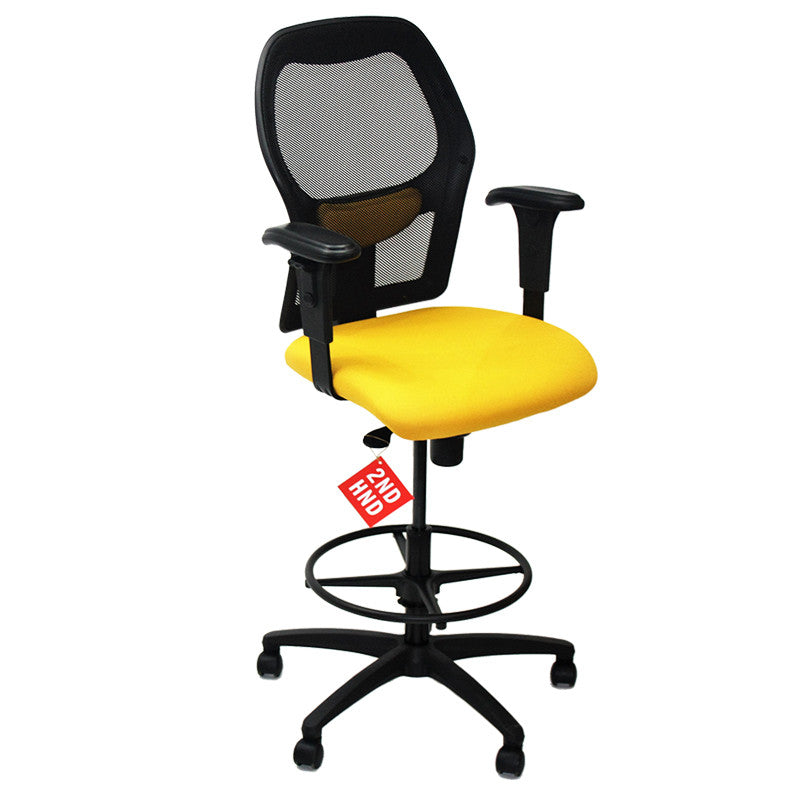 Ahrend 160 Type Draughtsman Chair with Yellow Fabric Seat and Black Base