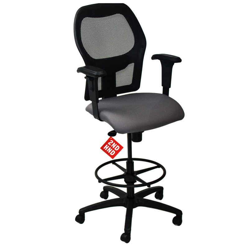 ... Ahrend 160 Type Draughtsman Chair with Grey Fabric Seat and Black Base ...  sc 1 st  2ndhnd.com & Ahrend 160 Type Draughtsman Chair yellow fabric seat u2013 2ndhnd.com ...