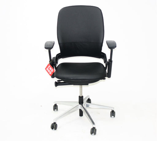 Steelcase Leap V2 Chair with aluminium base in black leather