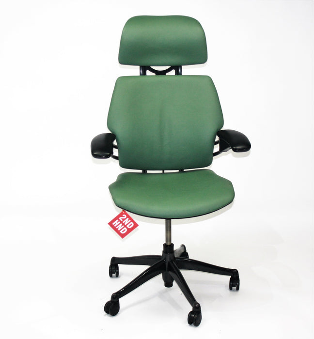 Humanscale Freedom Hi Back Chair with Green Leather