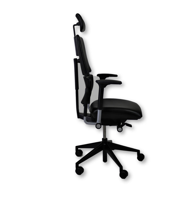 Steelcase Please V2 New Black Leather chair with Headrest