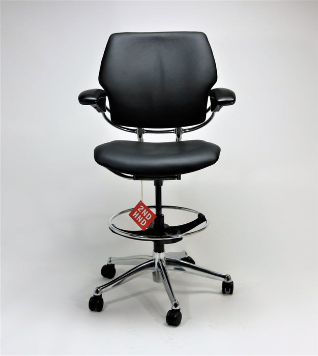 Humanscale Freedom MED Back Draughtsman Chair Aluminium Frame recovered in new black Leather