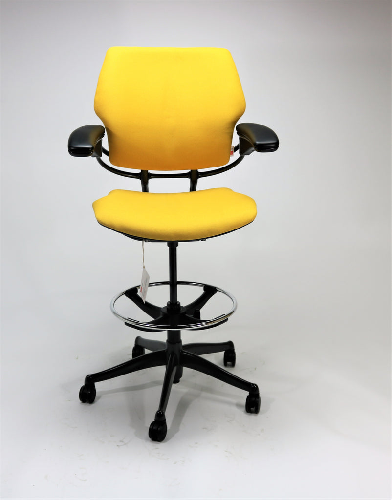 Humanscale Freedom MED Back Draughtsman Chair recovered in new Yellow Fabric