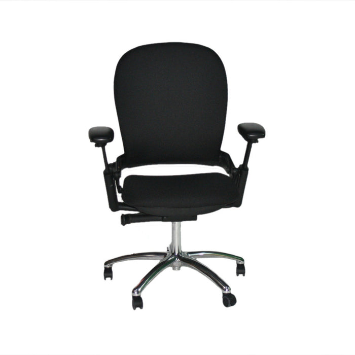 Steelcase Leap V1 chair with aluminium base in new black fabric