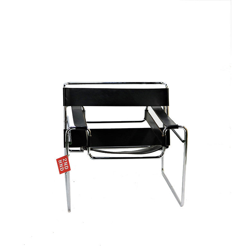 Wassily Type Chair Black Leather