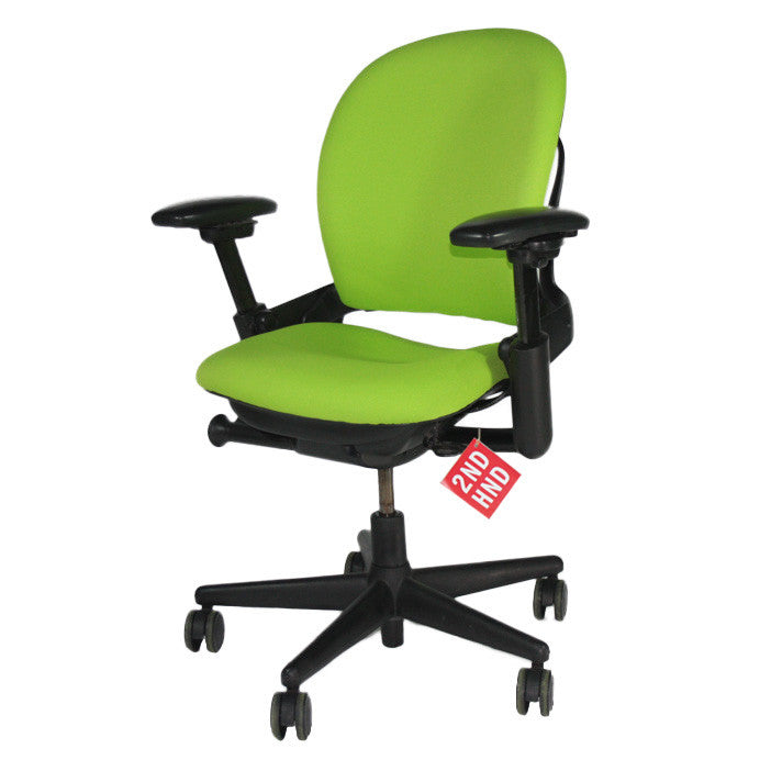 Steelcase Leap V1 Chair with black base in new green fabric