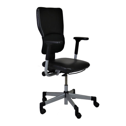 Steelcase Lets B Hi-Back Task Chair with New Black Leather