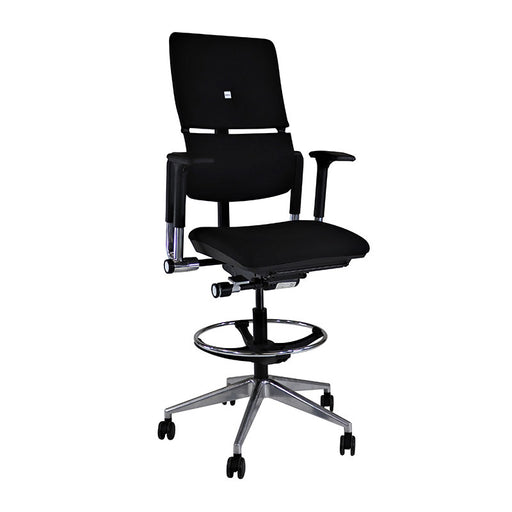 Steelcase Please V2 Draughtsman Chair - Aluminium Frame in New Black Fabric