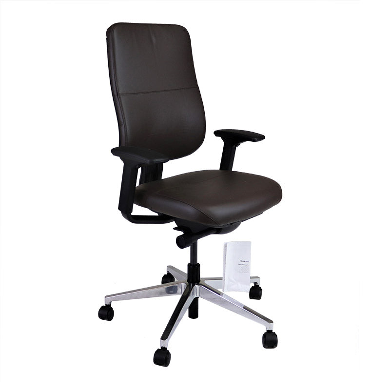 Steelcase Reply V2 with Aluminium Base and Brown Leather