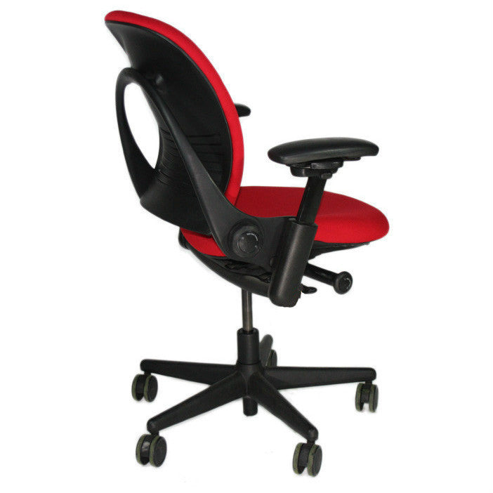 Steelcase Leap V1 Chair with black base in new red fabric