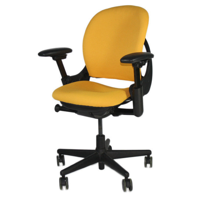 Steelcase Leap V1 Chair with sliding seat in new yellow fabric
