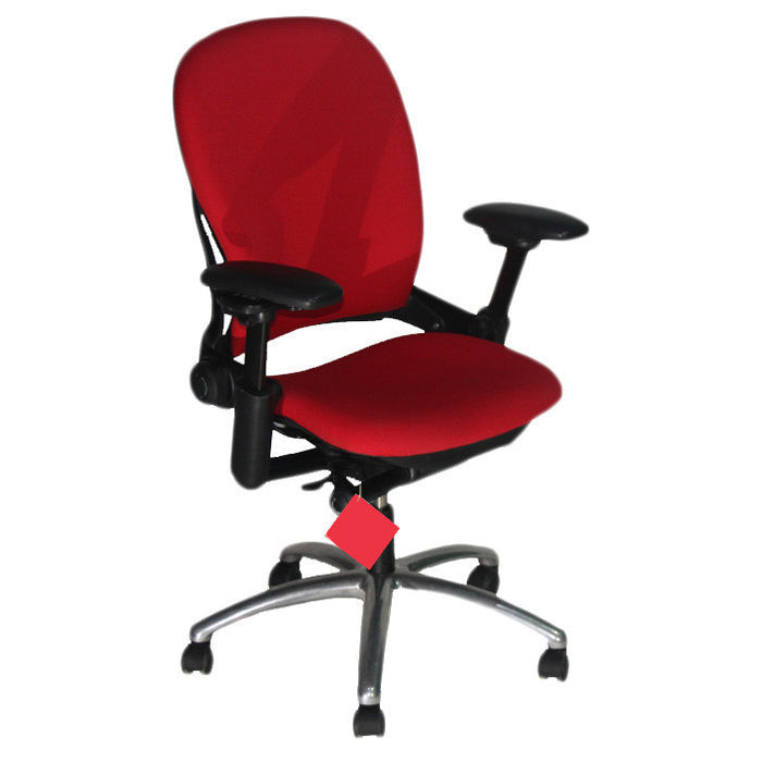 Steelcase Leap V1 chair with aluminium base in new red fabric