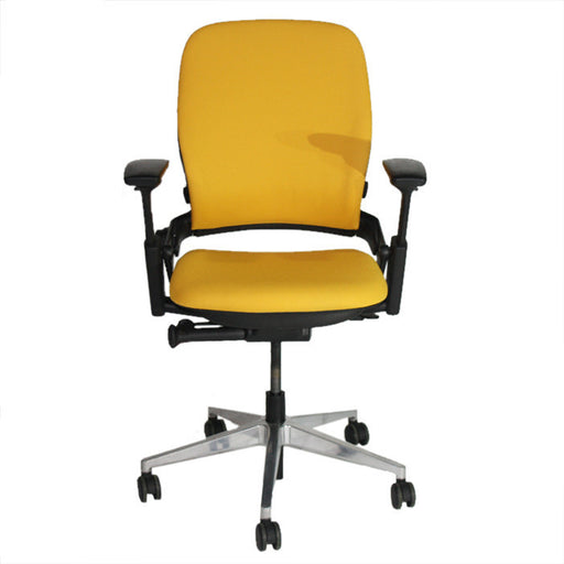Steelcase Leap V2 Chair with aluminium base in new yellow fabric