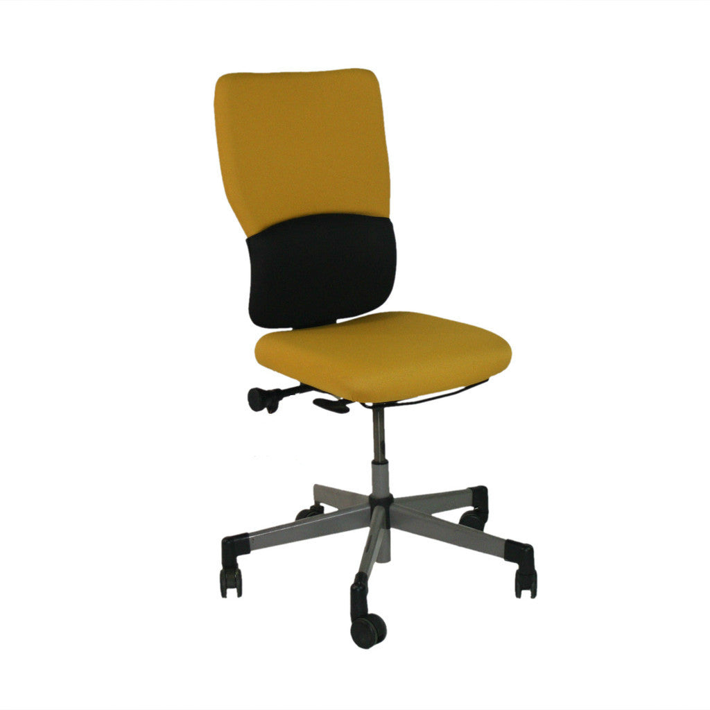 steelcase lets b hi back yellow task chair with no arms – 2ndhnd