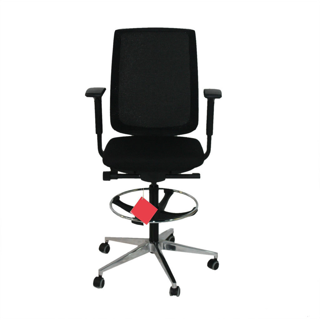 Steelcase Reply Draughtsman Chair Black New Fabric and Polished Aluminium Base