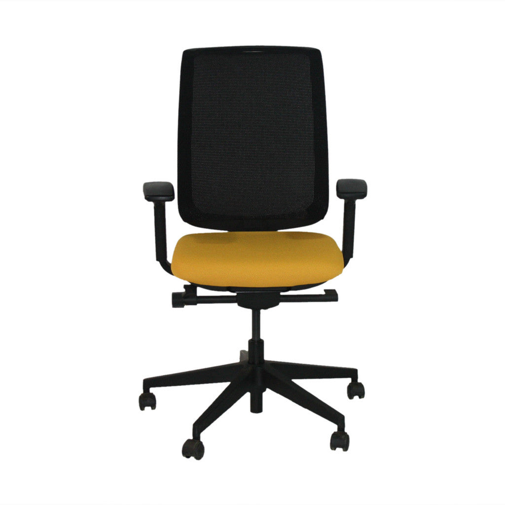 Steelcase Reply Task Chair in Yellow New Fabric with Black Base