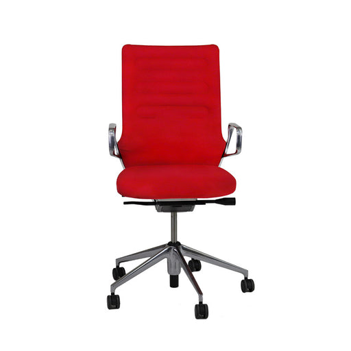 Vitra AC4 Hi-Back Aluminium Frame in Red Fabric