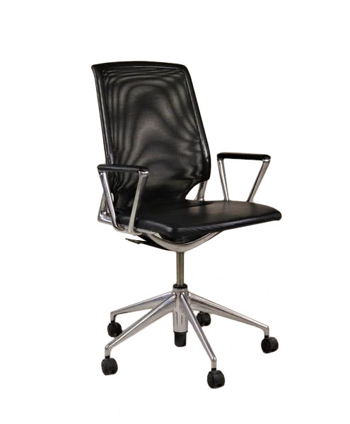 Vitra Meda Hi  back  aluminium frame Leather Seat
