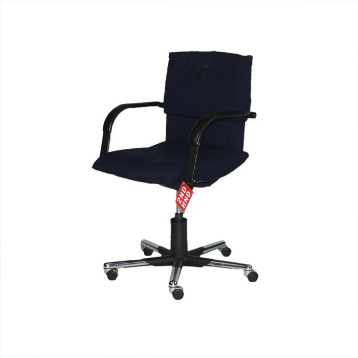 Fugeras Chair with chrome/black base in original blue fabric